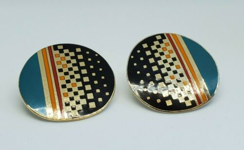 Primary image for Vintage Laurel Burch Raji Geometric Circle Clip On Cloisonne Earrings