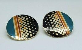 Vintage Laurel Burch Raji Geometric Circle Clip On Cloisonne Earrings - €16,45 EUR