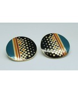 Vintage Laurel Burch Raji Geometric Circle Clip On Cloisonne Earrings - $26.25 CAD