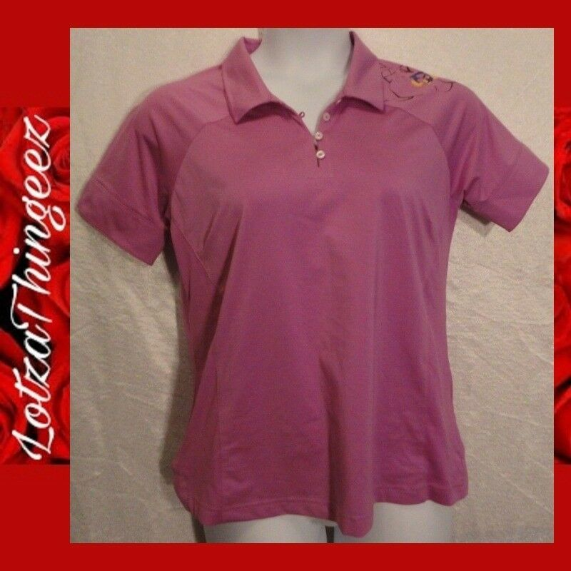 Adidas Climacool L Pink Womens Golf Sport Polo Floral Shoulder