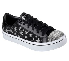 Skechers Silver Metallic Stars Rhinestones STARLICIOUS Black Sneakers Wm... - $62.99