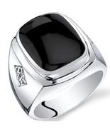Men's Sterling Silver Cushion Cut Onyx Ring - $120.99