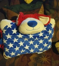 "18"" Patriotic Puppy USA Red White Blue Stars PILLOW Pets Stuffed Dog Lover  Toy - $19.99"
