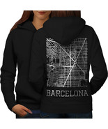 Spain City Barcelona Sweatshirt Hoody Town Map Women Hoodie Back - $21.99+