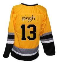 Speedy Singhs Breakaway Movie Hockey Jersey New Yellow Singh #13 Any Size image 5