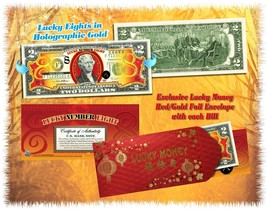 Chinese LUCKY NUMBER EIGHT # 8 Gold Hologram U.S. $2 Bill Colorized LUCK... - $13.81