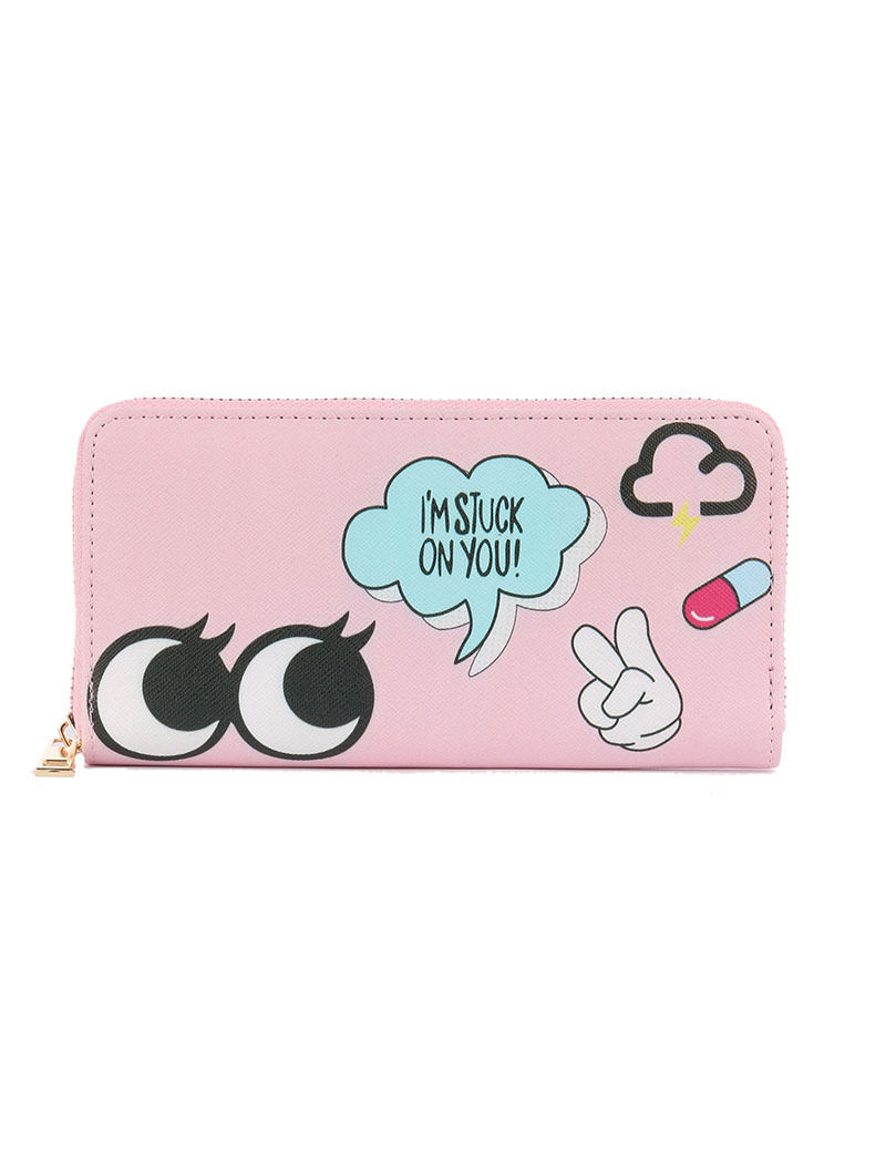 "Pop Culture Print Zip Around Wallet Clutch Purse ""I'm Stuck on You"" Pink"