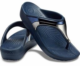Women's Crocs Sloane Metal Block Wedge Flip Navy Blue and Silver Size 5 - $29.70