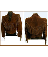 QASTAN WOMEN'S NEW SHORT BODY BROWN WESTERN FRINGE SUEDE LEATHER JACKET ... - $136.22+