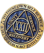 22 Year AA Medallion Reflex Dusty Blue Gold Plated Sobriety Chip Coin XXII - £6.81 GBP