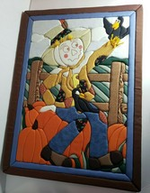 Vintage Scarecrow Crow Pumpkins Fall Autumn Wall Decor Padded Picture 25... - $12.84