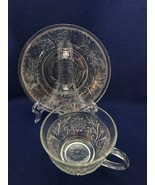 Anchor Hocking Depression glass sandwich pattern coffee cup and saucer 2... - $9.89
