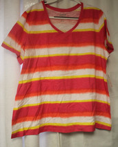 NEW WOMENS PLUS SIZE 22/24 AVENUE PINK ORANGE YELLOW AND WHITE STRIPED V... - $16.44