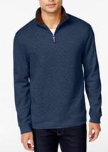 Tasso Elba Men's Navy Htr 1/4 Zip Quilted Sweatshirt Pullover Sweater Me... - ₨2,097.08 INR