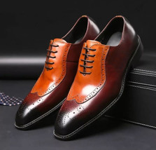 Handmade Men's Maroon And Orange Heart Medallion Wing Tip Dress Oxford Shoes image 1