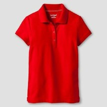Cat & Jack Girls' Pique Stain Resist Polo Shirt Red Size Medium 7/8 NWT - $6.99