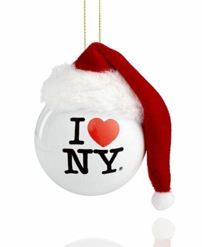 Kurt Adler I Love NY Ball with Santa Hat Christmas Ornament