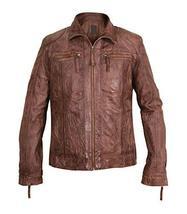 Mens Cafe Racer Vintage Biker Zip Up Motorcycle Brown Distressed Leather Jacket image 1