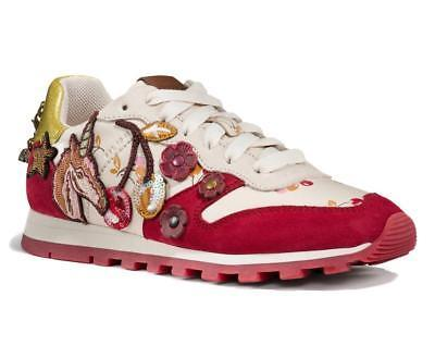 Coach Women's Embroidered Leather Suede Shoes Trainers Sneakers C125 Ivory/Red