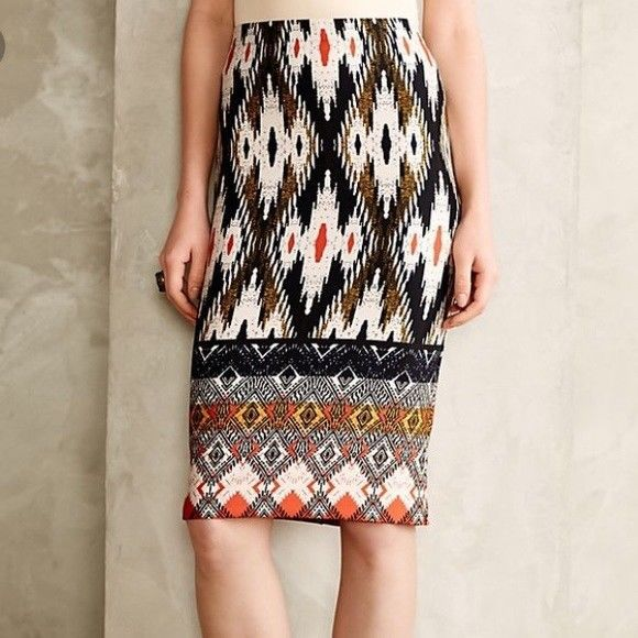 Maeve Anthropologie Iguazu Ikat Print Aztec Tribal Ethnic Pencil Skirt S