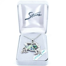 Storrs Wild Pearle Abalone Shell Crab Cancer Zodiac Pendant Silver Tone Necklace image 1