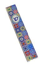 Judaica Mezuzah Case Perspex Colorful Geometric Mosaic Print Pattern 10 cm