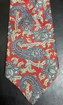 Geoffrey Beene Mens Red Tan Green Purple Paisley 100% Silk Neck Tie Necktie  - $7.82