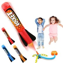 Duckura Jump Rocket Launchers for Kids, Outdoor Play with 3 Rockets, Toy Gift fo