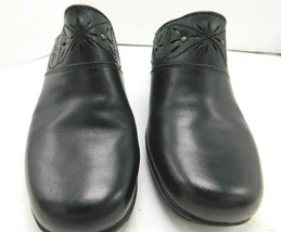 Clarks Bendables Womens Shoes 9 1/2M Black Leather Upper Mules Open Back - $17.81