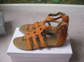 Franco Sarto Orange Leather Thong Back Zipper Women's Sandal 8.5M New - $39.59