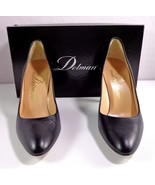 Delman Womens Black Kid Leather Pumps High Heels Size 7 M Made in Spain - $133.46