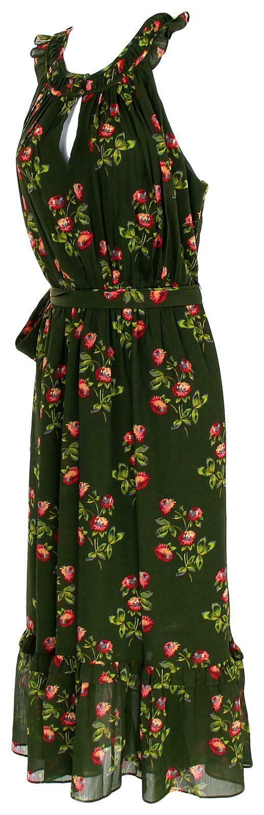 J Crew Women's Point Sur High-Neck Ruffle Floral Dress Chiffon 4 J5088 image 3