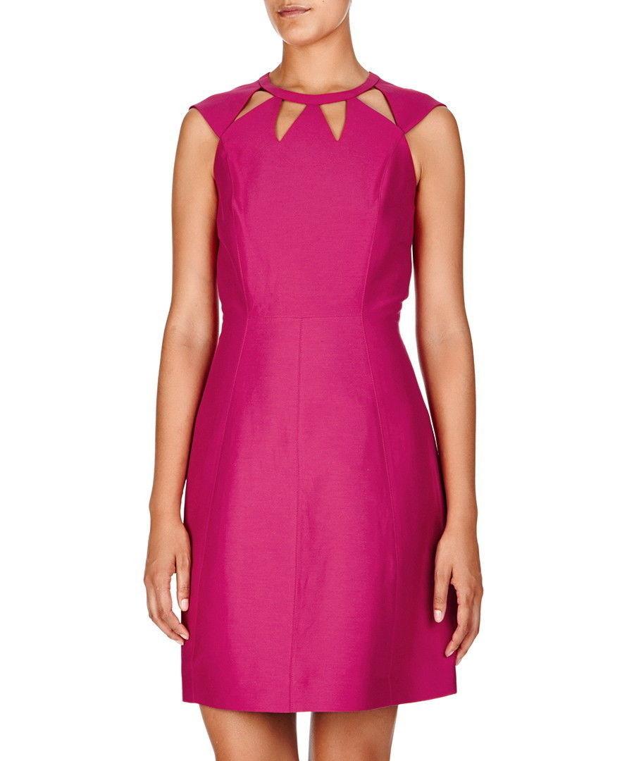 New $495 Womens Halston Heritage 6 Dress Designer Dark Pink NWT Cut Out Neck