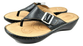 Born Brand Womens Sandals Size 10 M Black Leather Thong Sandals with Buckle - $12.95