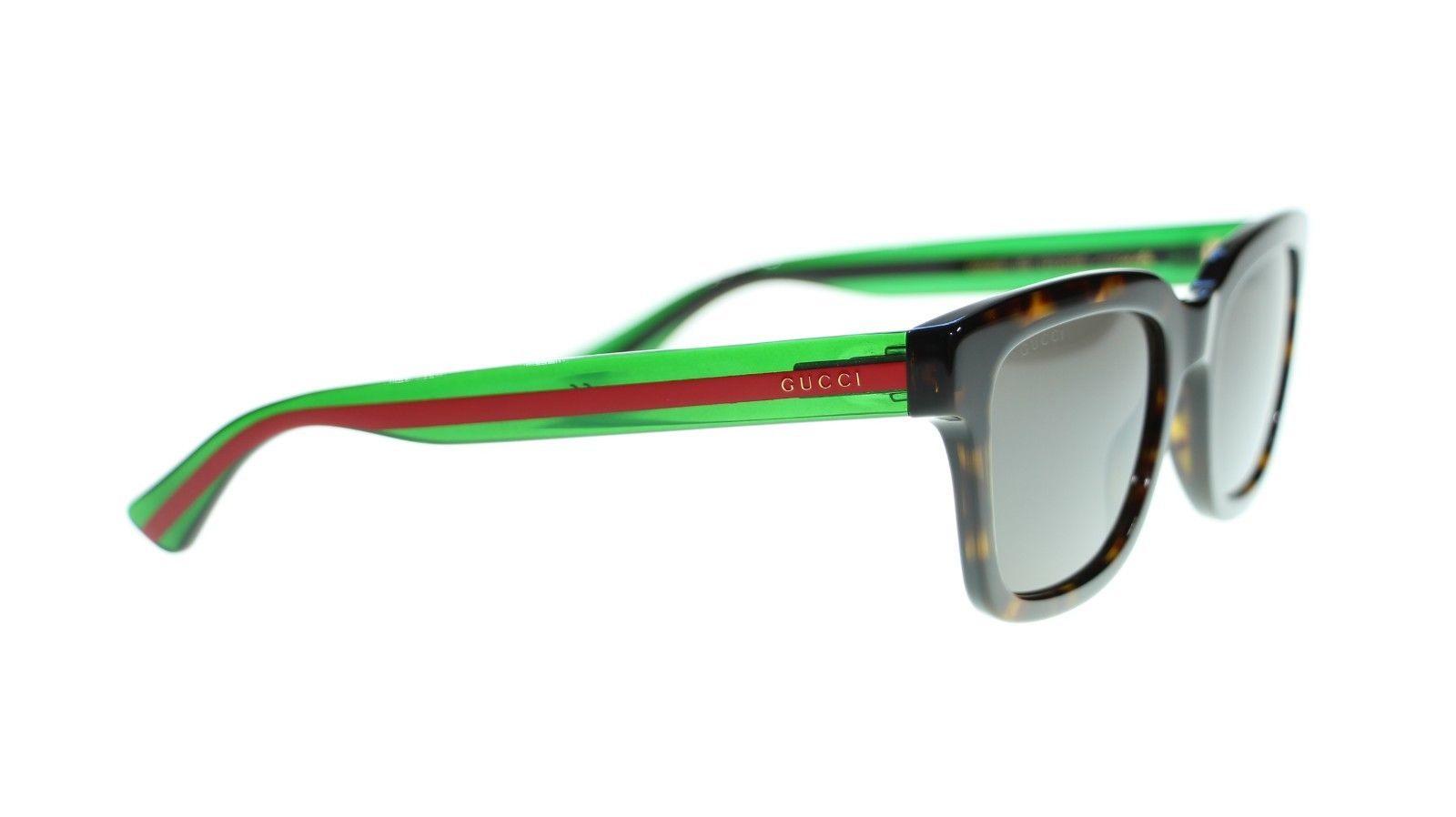 9c943321d766e Gucci Men Square Sunglasses GG0001S 003 Havana Green Grey Lens 52mm  Authentic