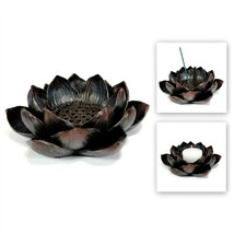 LOTUS INCENSE BURNER & CANDLE HOLDER Blossom Votive HIGH QUALITY Resin F... - $19.88
