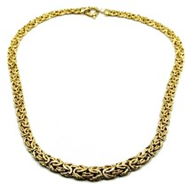 """18K YELLOW GOLD FLAT BYZANTINE NECKLACE CHOKER 7/10mm, 45cm, 18"""", MADE IN ITALY image 1"""