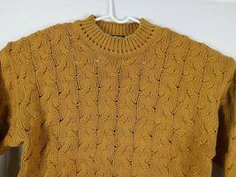 Vtg Ellis Island Men Sweater XL Mustard Yellow Crewneck Chunky Cardigan Pullove image 3