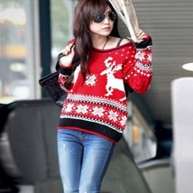 Women Knitted Christmas Print Pullover - $23.75