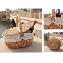 Handmade Wicker Basket with Handle Wicker Camping Picnic Basket with Dou... - $34.05