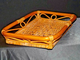 Serving Tray Wicker Basket AA-191707 Vintage Collectible image 2