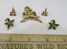 Vtg Avon Goldtone Holly Pin Brooch & Earrings Clip On & Pierced Jewelry ... - $14.84