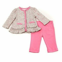 Baby girls size 6-9 months pink leopard cardigan and pants set Baby Head... - $10.00
