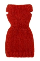 Barbie Doll Clothes Knit Mohair Red Sweater Dress Handmade - $6.49