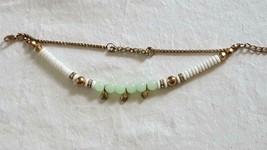 "7.5"" Unique Jade Rhinestone Double Chain Bracelet, Unsigned, Brass, Vintage, - $4.94"