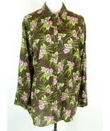 JONES NEW YORK Size 2X Cotton Floral Blouse Button Down Top - $19.99