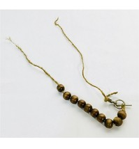 Vintage Women's Wood Bead Necklace Natural Brown Rope Pin Clasp - $9.89