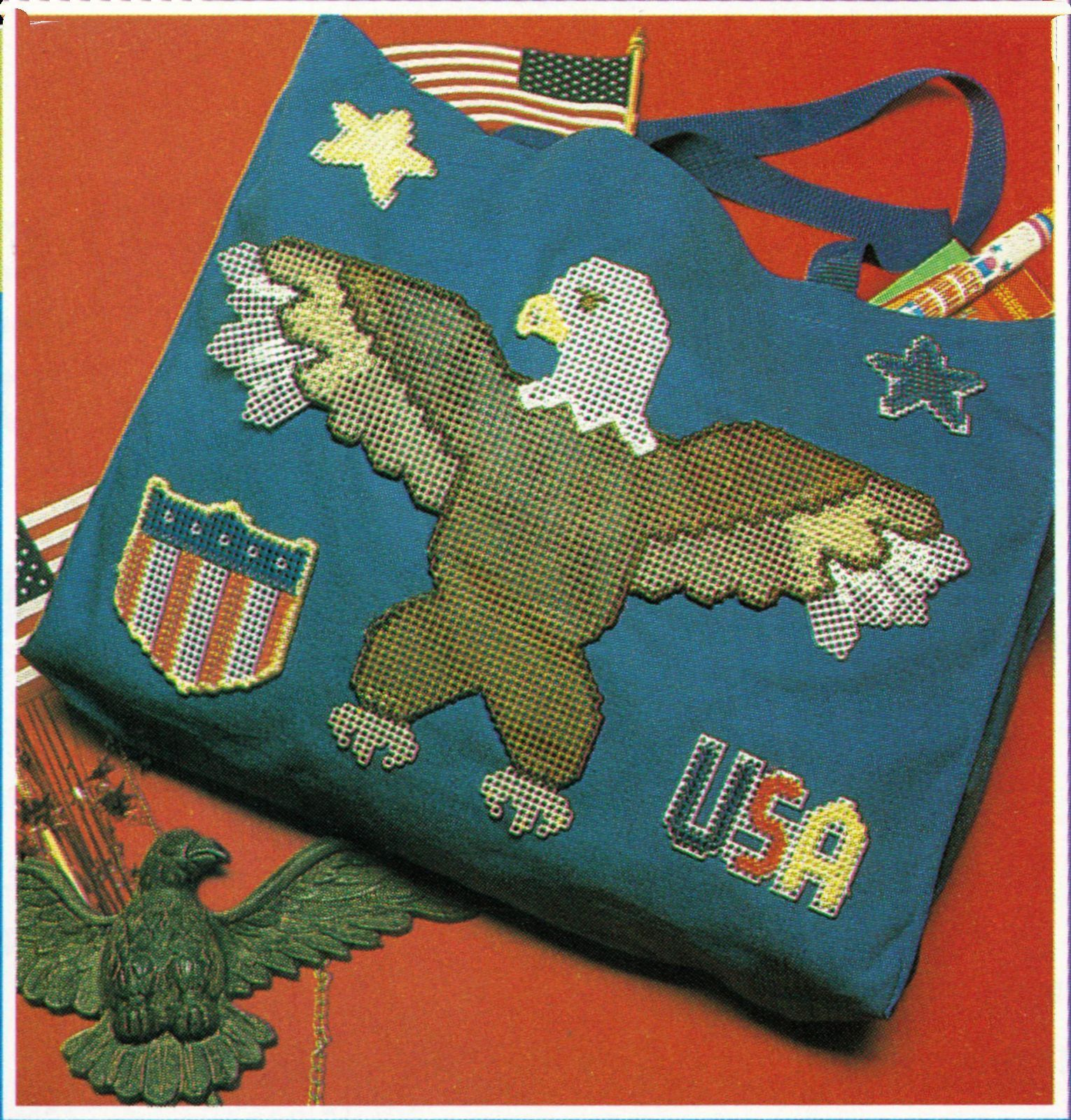 Primary image for Plastic Canvas Patriotic Eagle Tote Flag Star Box Ornament Picnic Holder Pattern