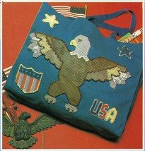 Plastic Canvas Patriotic Eagle Tote Star & Heart Box Ornament Magnet Pat... - $7.99