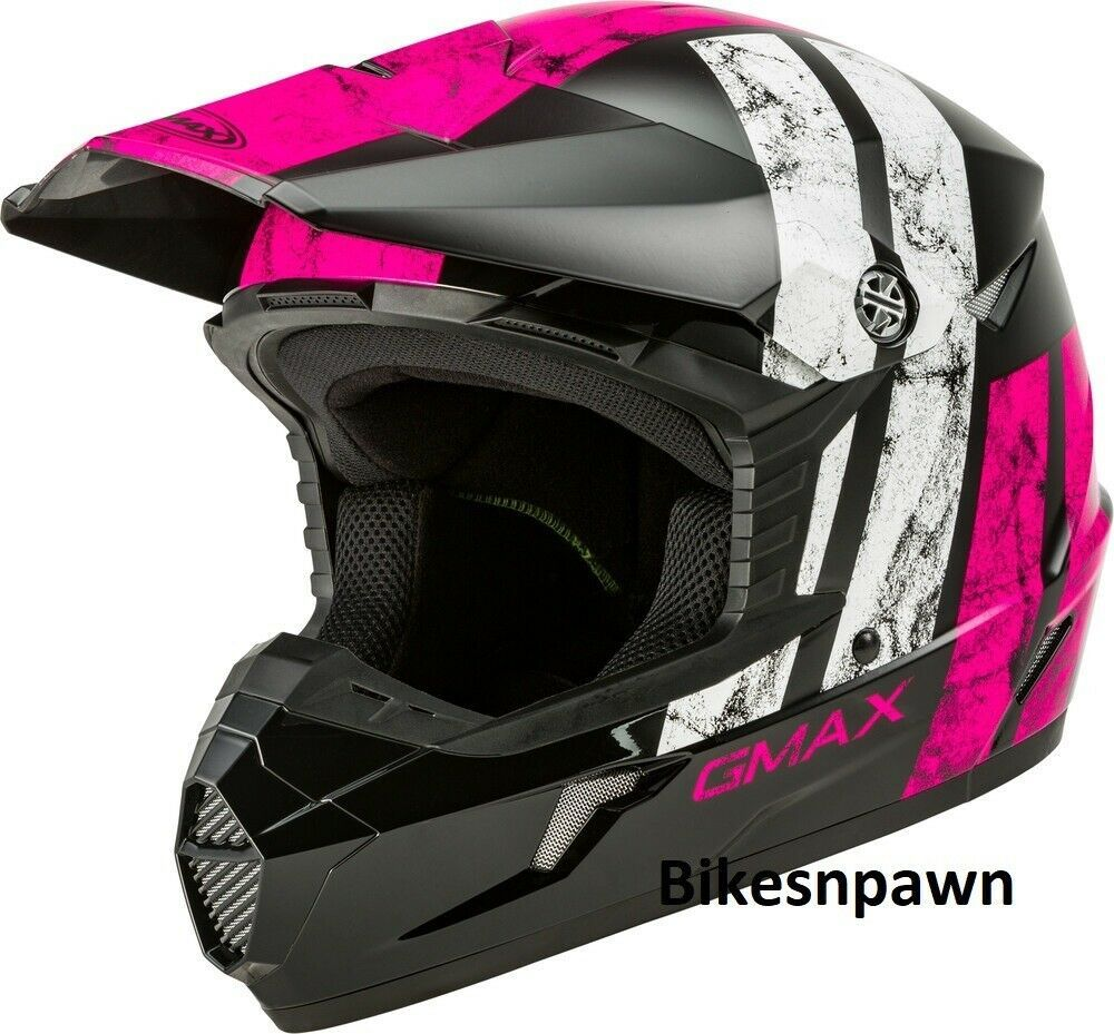 New Youth L Gmax GM46 Dominant Black/Pink/White Offroad Helmet DOT